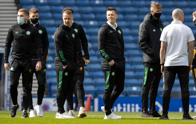 Celtic players out on the Ibrox pitch ahead the final Old Firm derby of the season against champions Rangers (Photo by Alan Harvey / SNS Group)
