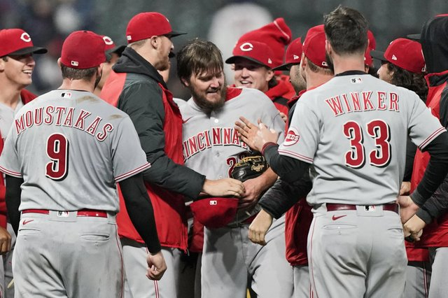 Cincinnati Reds pitcher Wade Miley, centre, is congratulated by teammates after he pitched a no-hitter against the Cleveland Indians. Picture: Tony Dejak/AP
