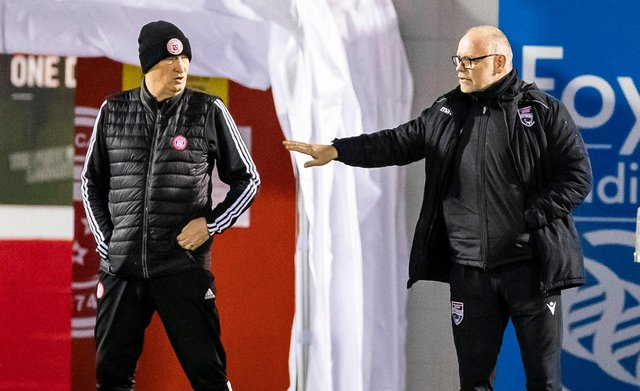 Ross County manager John Hughes (right) with Hamilton manager Brian Rice.