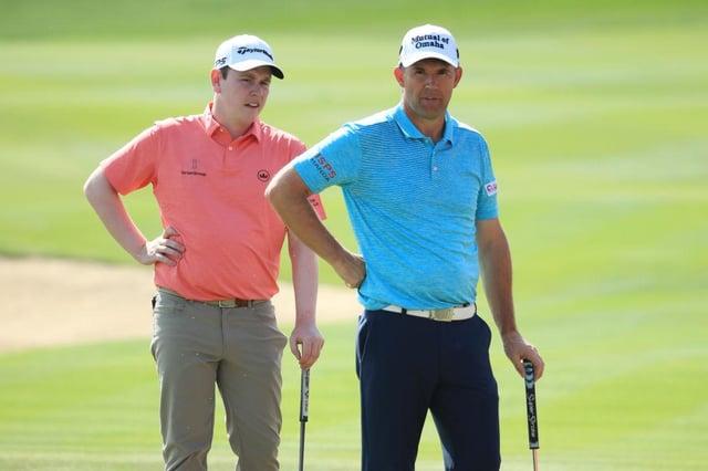 Bob Macintyre and Padraig Harrington during the recent Abu Dhabi HSBC Championship at Abu Dhabi Golf Club. Picture: Andrew Redington/Getty Images.