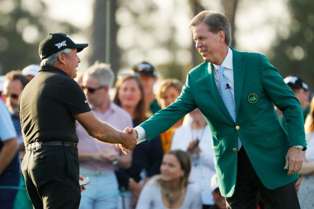 Honorary starter and Masters champion Gary Player with Masters Chairman Fred Ridley. Picture: Kevin C.  Cox/Getty Images.