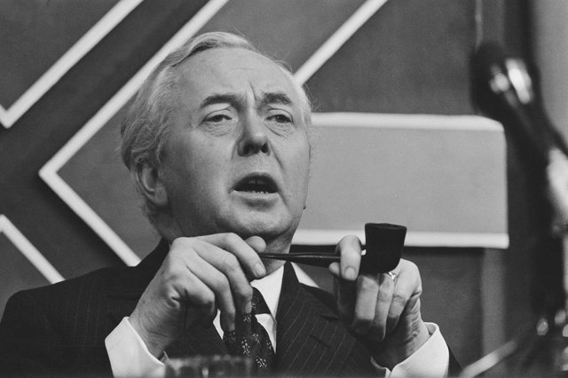 British Labour Prime Minister Harold Wilson (1916 - 1995)  at a meeting during the UK general election campaign, 26th February 1974. PIC: Reg Lancaster/Daily Express/Hulton Archive/Getty Images