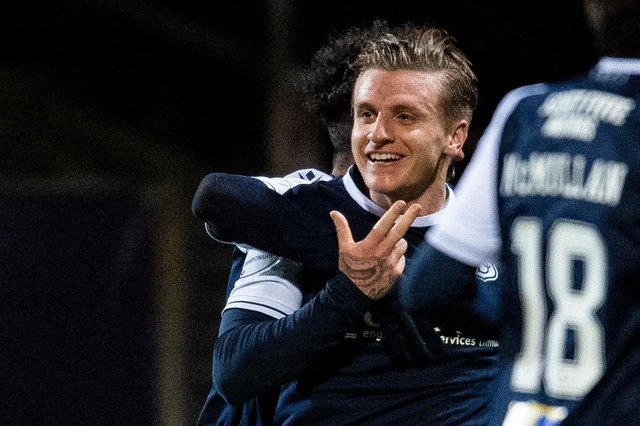 Jason Cummings celebrates after scoring in Dundee's 2-1 win over Inverness Caledonian Thistle on Tuesday. He has three goals in three starts for the Dens Park club (Photo by Ross MacDonald / SNS Group)