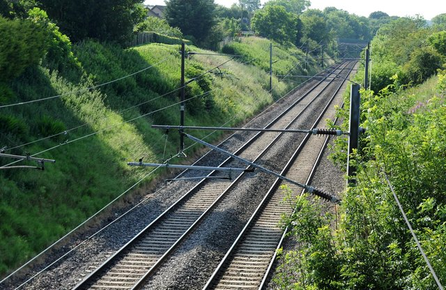 Train tracks passing the old Reston Station on the East Coast Mainline.