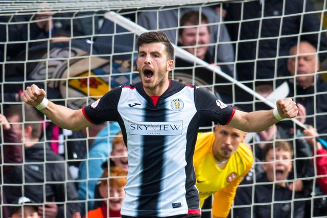 St Mirren's Mihai Popescu celebrates scoring for St Mirren during the play-off penalty shootout win over Robbie Neilson's Dundee United. Photo: Rob Casey/SNS Group