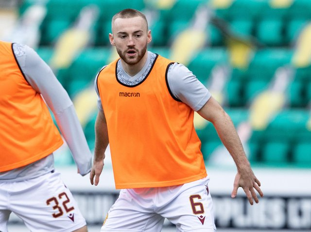 EDINBURGH, SCOTLAND - FEBRUARY 27: Motherwell's Allan Campbell warming up during the Scottish Premiership match between Hibernian and Motherwell at Easter Road on February 27, 2021, in Edinburgh, Scotland. (Photo by Alan Harvey / SNS Group)