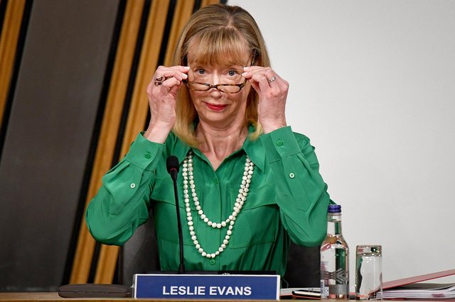 Permanent Secretary Leslie Evans gives evidence at Holyrood to a Scottish Parliament committee examining the handling of harassment allegations against former first minister Alex Salmond. Picture: PA