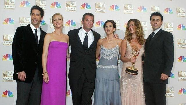 Original cast members  David Schwimmer, Lisa Kudrow, Matthew Perry, Courteney Cox, Jennifer Aniston, Lisa Kudrow, and Matt LeBlanc. Picture: Getty Images