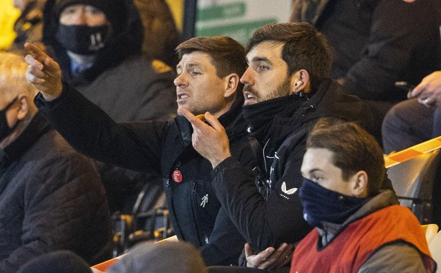 Rangers Manager Steven Gerrard in the stand after being shown a red card during a Scottish Premiership match between Livingston and Rangers at The Tony Macaroni Arena, on March 03, 2021, in Livingston, Scotland. (Photo by Alan Harvey / SNS Group)