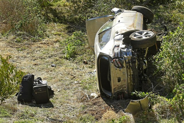 The wreckage of the car Toger Woods was driving when he crashed in Los Angeles just afterr 7am on Tuesday morning