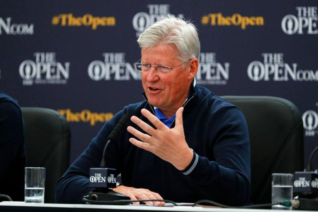 Chief Executive of the R&A Martin Slumbers speaks to the media at the R&A press conference prior to the 148th Open at Royal Portrush. Picture: Kevin C. Cox/Getty Images.