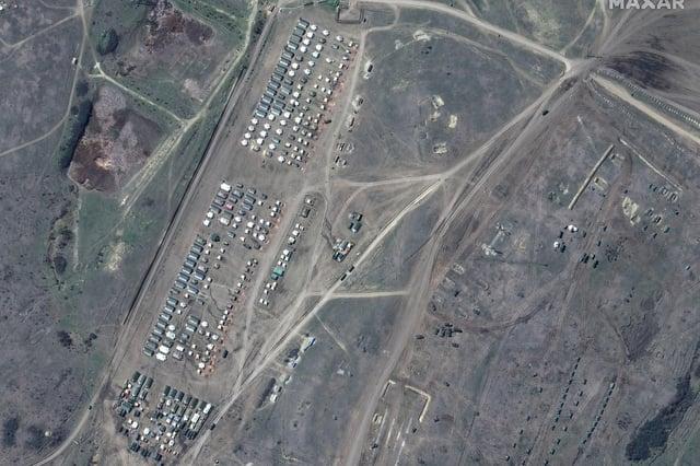 Russian troop tents on the Black Sea coast of Crimea (Picture: satellite image ©2021 Maxar Technologies via AP)