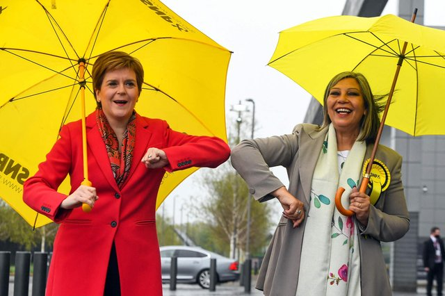 Scotland's First Minister Nicola Sturgeon (L) congratulates SNP candidate Kaukab Stewart after she was elected MSP for Glasgow Kelvin. Picture: Andy Buchanan/AFP via Getty Images