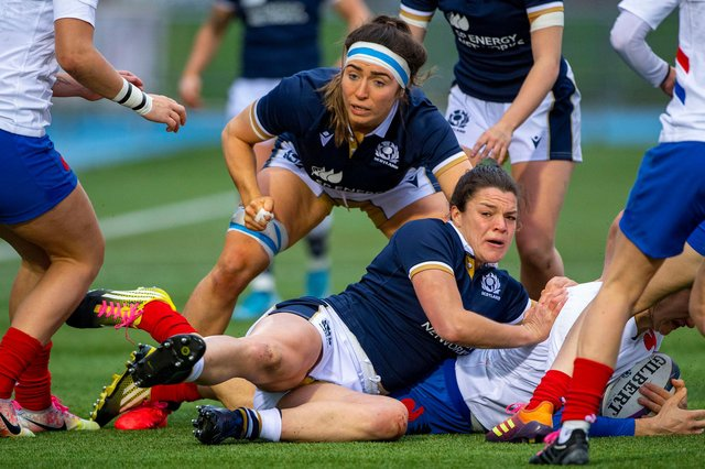 Emma Wassell, in the headband, in action for Scotland during last year's draw with France in the Women's Six Nations at Scotstoun. Picture: Bill Murray/SNS