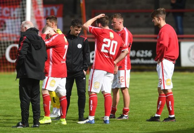 Brechin players are dejected at full time during a Scottish League Two play-off final second leg between Brechin City and Kelty Hearts at Glebe Park, on May 23, 2021, in Brechin, Scotland (Photo by Craig Foy / SNS Group)