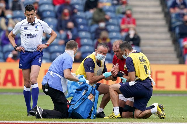 Alun Wyn Jones injured his shoulder in the British and Irish Lions' send-off game against Japan at Murrayfield on June 26, 2021. Picture: Andrew Milligan/PA Wire