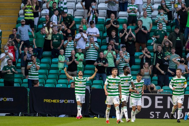 Liel Abada celebrates after scoring to make it 1-0 to Celtic.