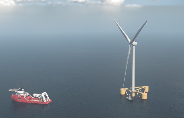 The plan by Cerulean Winds would see more than 200 gigantic floating wind turbines, similar to the one in this illustration, anchored in Scottish waters