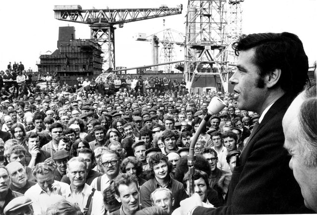 Shop stewards convener Jimmy Reid addresses a mass meeting of the Upper Clyde Shipyards at Clydebank, July 1971.