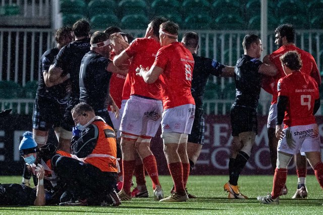 Players clash during Glasgow's Guinness Pro14 match against Munster at Scotstoun. Picture: Ross MacDonald / SNS