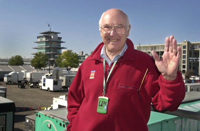 Murray Walker in the television compound at Indianapolis Motor Speedway in 2001
