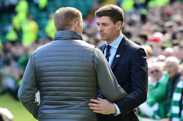Neil Lennon and Steven Gerrard were due to meet again next month before Lennon's resignation from the Parkhead hotseat (Photo by Mark Runnacles/Getty Images)