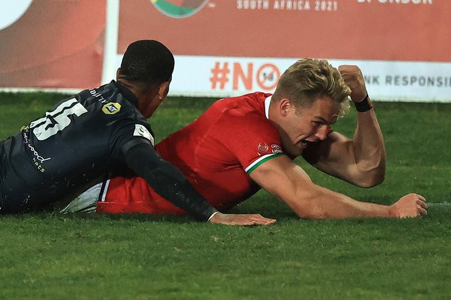 Duhan van der Merwe scored a hat-trick of tries for the Lions against the Cell C Sharks in Johannesburg. Picture: David Rogers/Getty Images
