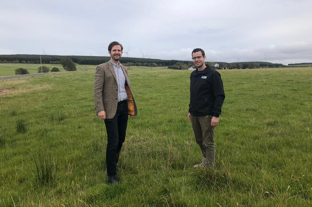Banks Renewables sustainability and external affairs manager Robin Winstanley and project manager Alan Wells visit the East Ayrshire site of Lethans Wind Farm - construction is due to begin in 2024
