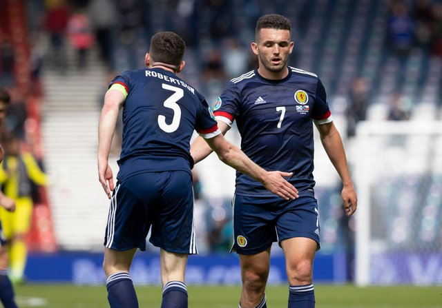 A disappointed John McGinn with Scotland captain Andy Robertson at full time of the 2-0 defeat to Czech Republic at Hampden in the Euro 2020 opener (Photo by Alan Harvey / SNS Group)