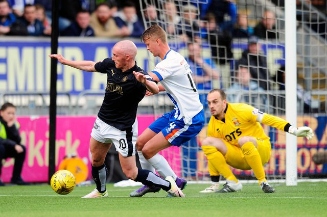 Craig Sibbald, Mark O'Hara and Jamie MacDonald in action during the Ladbrokes SPFL Premiership play-off final first leg. Falkirk FC v Kilmarnock FC.  Picture Michael Gillen.