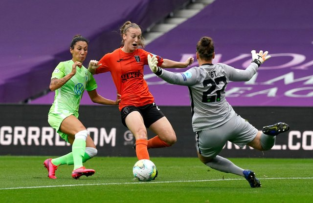 Glasgow City on the attack v Wolfsburg in the  UEFA Women's Champions League Quarter Final