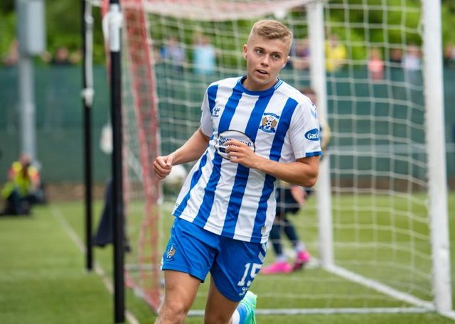 Fraser Murray turns away to celebrate giving Kilmarnock the lead in their Premier Sports Cup match against East Kilbride at K-Park. (Photo by Mark Scates / SNS Group)