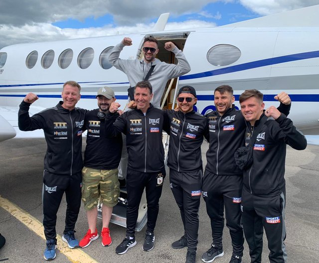 Josh Taylor and team used a private jet for the last leg of their journey home. Picture: MTK Global Boxing