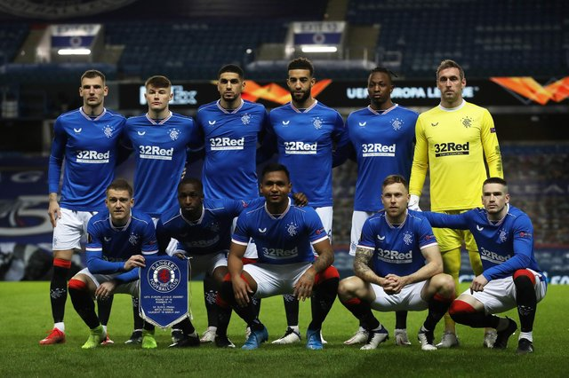 Rangers pose  prior to the UEFA Europa League Round of 16 Second Leg match between Rangers and Slavia Praha at Ibrox Stadium on March 18, 2021. (Photo by Ian MacNicol/Getty Images)