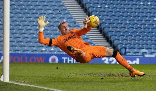 Allan McGregor in action for Rangers during a Scottish Premiership match between Rangers and Celtic at Ibrox Stadium, on January 02, 2021, in Glasgow, Scotland (Photo by Alan Harvey / SNS Group)