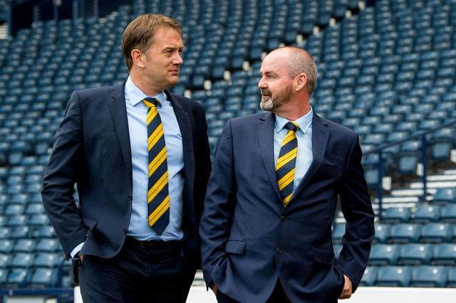 SFA chief executive Ian Maxwell with Scotland head coach Steve Clarke