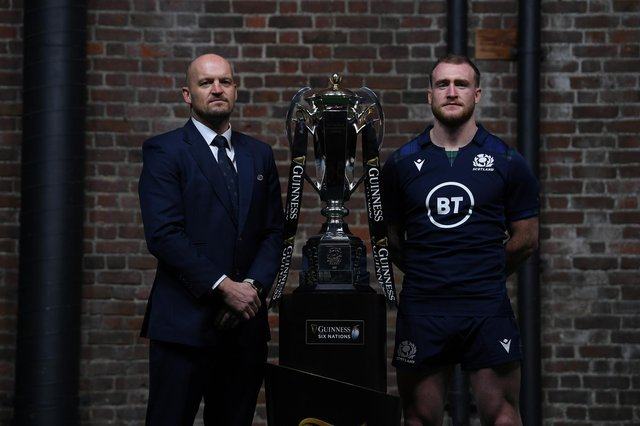 Scotland coach Gregor Townsend and captain Stuart Hogg with the Six Nations trophy. CVC will invest £365m in the tournament. Picture: Mike Hewitt/Getty Images