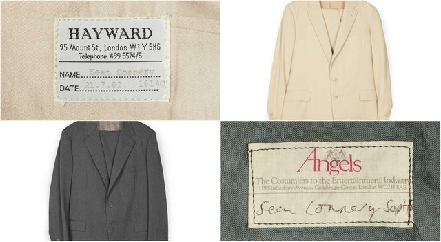 Two suits worn by the late Sir Sean Connery in films will go under the hammer in an online auction this week.