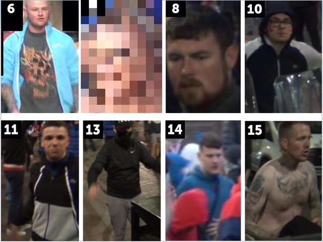Eight of the 17 people who Police Scotland has requested information about in relation to Rangers fan celebrations on Saturday May 15.