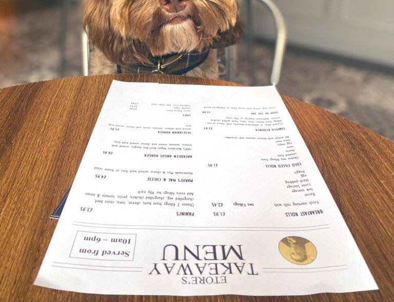 PR, Rachel Flynn, took her dog Biddy on to lunch at their local watering hole, Etore's, on Edinburgh's Slateford Road. Rachel had macaroni cheese, and Biddy had three gravy bones and some water.