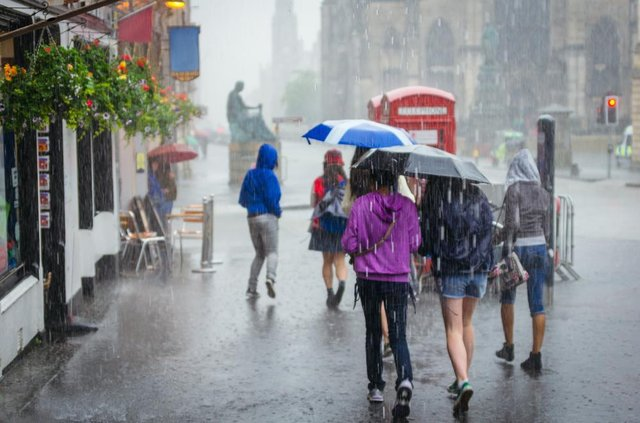 People walking in the rain on the Royal Mile