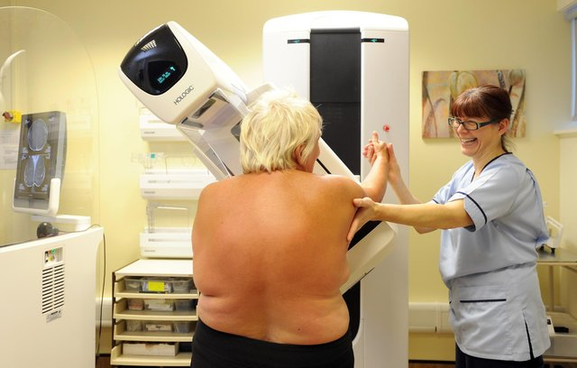 A patient undergoes as digital breast screening session. Picture: Jane Barlow