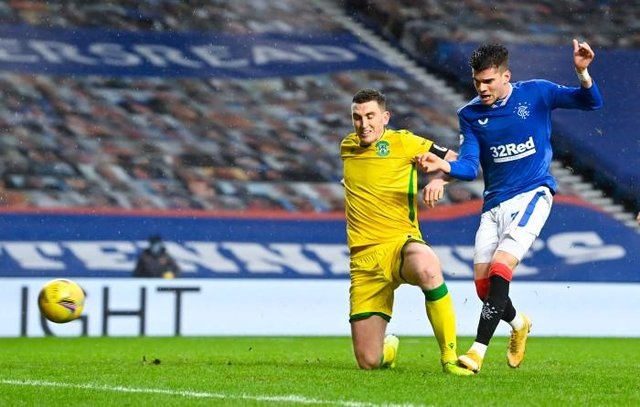 Ianis Hagi breaks the deadlock for Rangers against Hibs at Ibrox as he slots the ball home from close range in the 33rd minute. (Photo by Rob Casey / SNS Group)