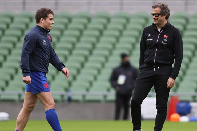 France's head coach Fabien Galthie, right, and star scrum-half Antoine Dupont have both tested positive for Covid-19. Picture: Brian Lawless/AFP via Getty Images