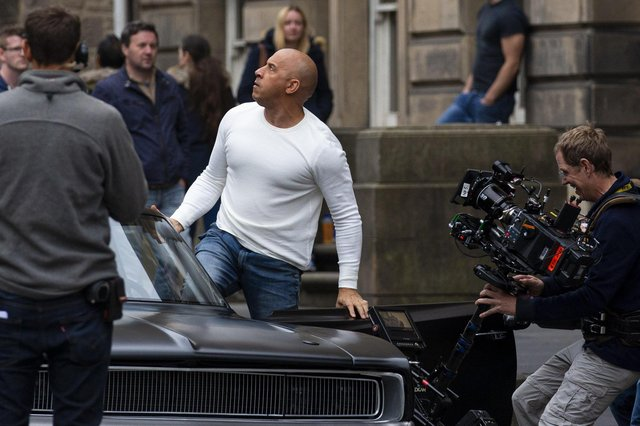 Actor Vin Diesel shoots a scene from Fast & Furious 9 in Edinburgh.