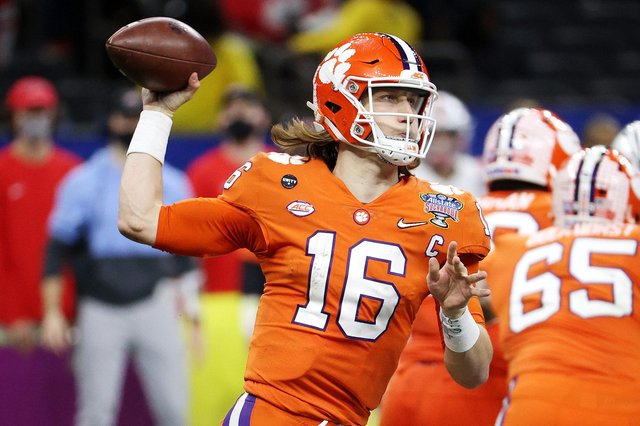 Trevor Lawrence of the Clemson Tigers is widely expected to be the first pick at the NFL draft. Picture: Chris Graythen/Getty Images