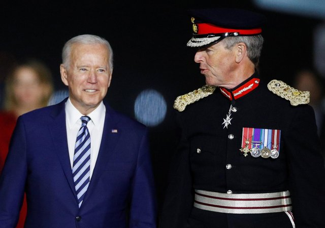 US President Joe Biden is welcomed as he arrives on Air Force One at Cornwall Airport Newquay ahead of the G7 summit (Photo: Phil Noble/PA Wire ).
