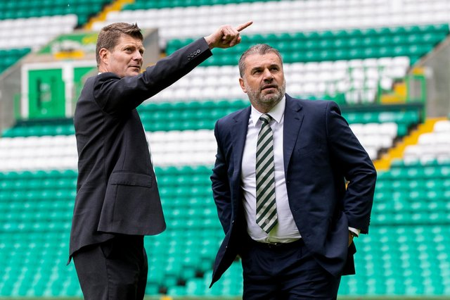 Celtic chief executive Dom McKay (left) and head coach Ange Postecoglou are both happy with the club's summer transfer business. (Photo by Craig Williamson / SNS Group)