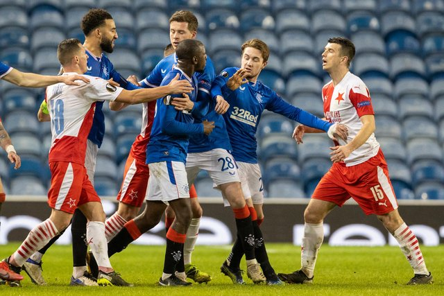 Glen Kamara angrily reacts after being racially abused by Ondrej Kudela during a Europa League match at Ibrox. Picture: SNS
