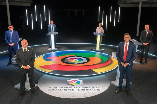 Clockwise from left: Douglas Ross, Patrick Harvie, presenter Glenn Campbell, Nicola Sturgeon, Anas Sarwar and Willie Rennie in this week's final leaders' debate (Picture: Getty)